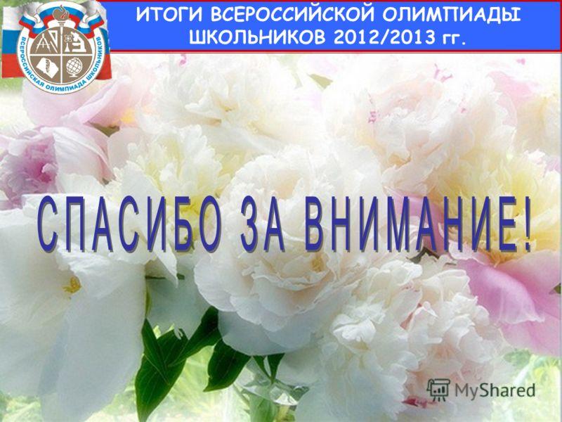 13 ИТОГИ ВСЕРОССИЙСКОЙ ОЛИМПИАДЫ ШКОЛЬНИКОВ 2012/2013 гг.