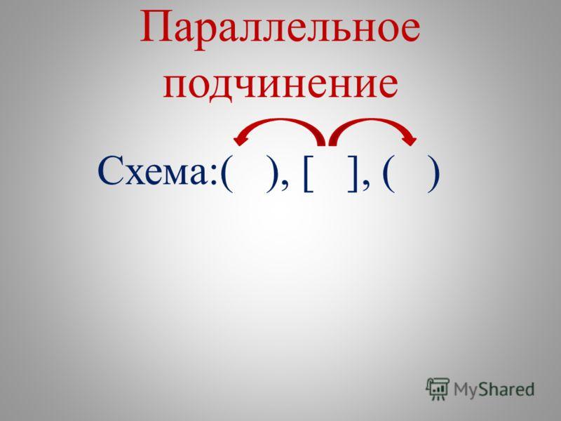 Параллельное подчинение Схема:( ), [ ], ( )