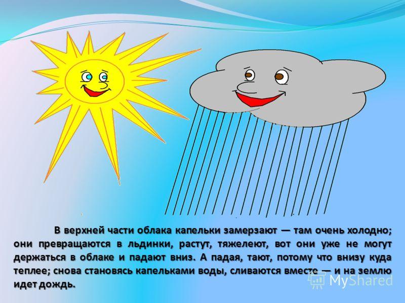 В верхней части облака капельки замерзают там очень холодно; они превращаются в льдинки, растут, тяжелеют, вот они уже не могут держаться в облаке и падают вниз. А падая, тают, потому что внизу куда теплее; снова становясь капельками воды, сливаются
