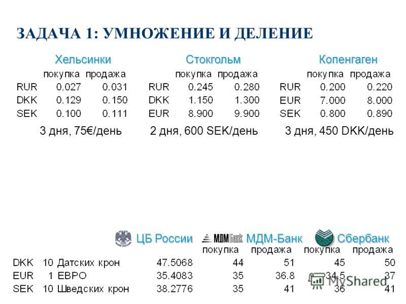 ЗАДАЧА 1: УМНОЖЕНИЕ И ДЕЛЕНИЕ n Вы отправляетесь в поездку по Европе (Финляндия, Швеция, Дания). Вы планируете провести в Финляндии 3 дня (расходы 75 евро в день), в Швеции 2 дня (600 крон в день) и в Дании 3 дня (450 крон в день). Обменные курсы см.
