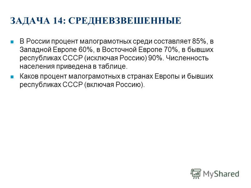 ЗАДАЧА 13: СРЕДНЕВЗВЕШЕННЫЕ n По статистике, потребители в возрасте до 20 лет тратят 130 рублей на периодические издания и покупают, в среднем, 4.7 изданий. В возрасте от 21 до 40 лет потребители тратят 70 рублей и покупают 2.3 издания. В возрасте от