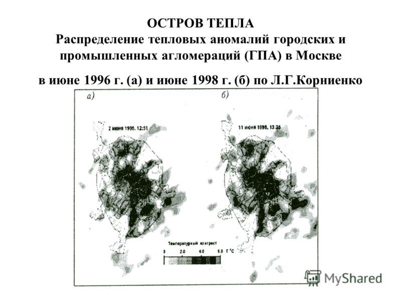 ОСТРОВ ТЕПЛА Распределение тепловых аномалий городских и промышленных агломераций (ГПА) в Москве в июне 1996 г. (а) и июне 1998 г. (б) по Л.Г.Корниенко