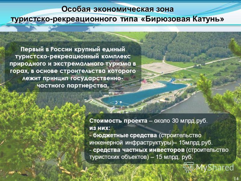 Первый в России крупный единый туристско-рекреационный комплекс природного и экстремального туризма в горах, в основе строительства которого лежит принцип государственно- частного партнерства. Стоимость проекта – около 30 млрд.руб. из них: - бюджетны