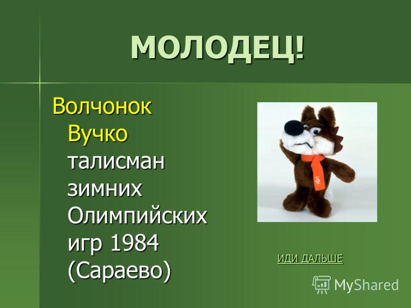 МОЛОДЕЦ! Волчонок Вучко талисман зимних Олимпийских игр 1984 (Сараево) ИДИ ДАЛЬШЕ ИДИ ДАЛЬШЕ