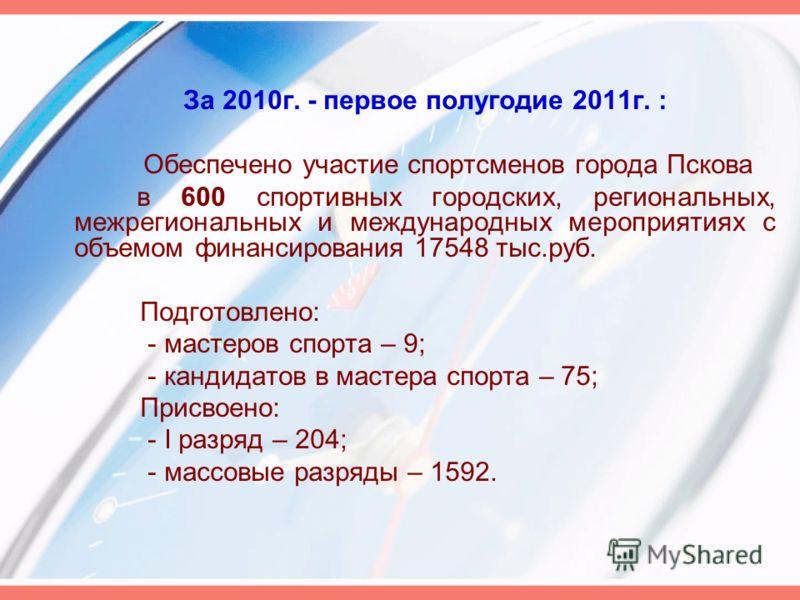 За 2010г. - первое полугодие 2011г. : Обеспечено участие спортсменов города Пскова в 600 спортивных городских, региональных, межрегиональных и международных мероприятиях с объемом финансирования 17548 тыс.руб. Подготовлено: - мастеров спорта – 9; - к