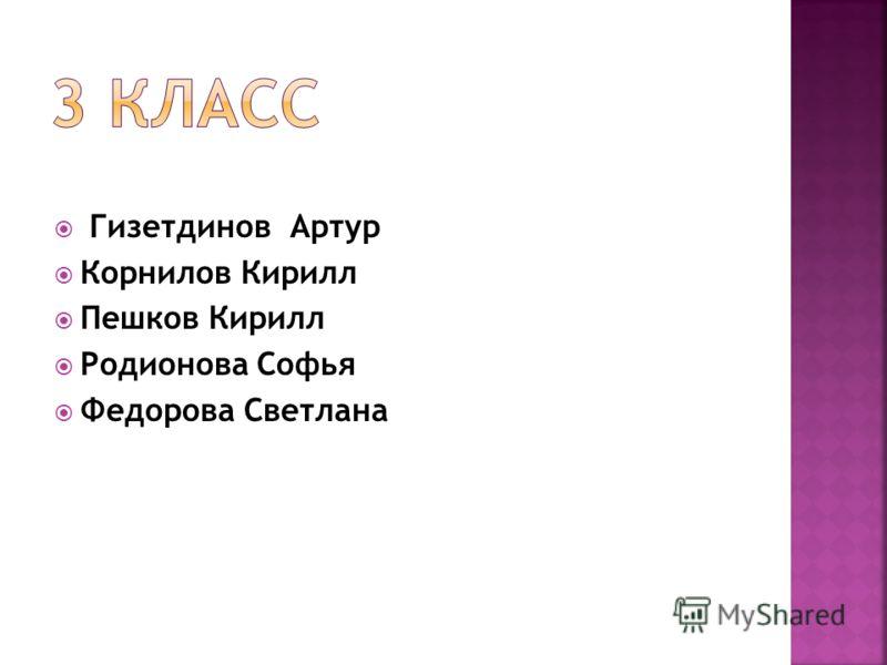 Гизетдинов Артур Корнилов Кирилл Пешков Кирилл Родионова Софья Федорова Светлана