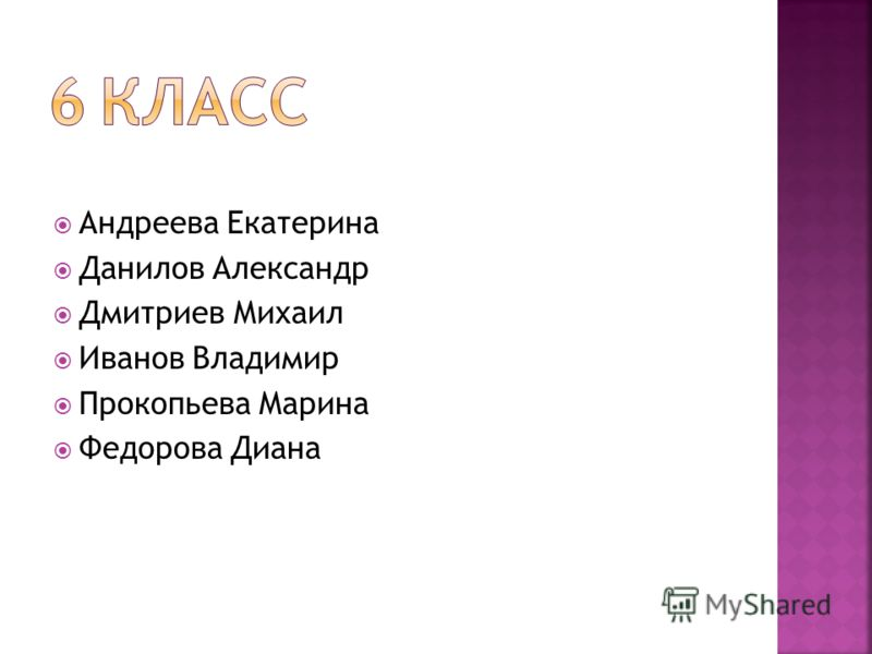 Андреева Екатерина Данилов Александр Дмитриев Михаил Иванов Владимир Прокопьева Марина Федорова Диана
