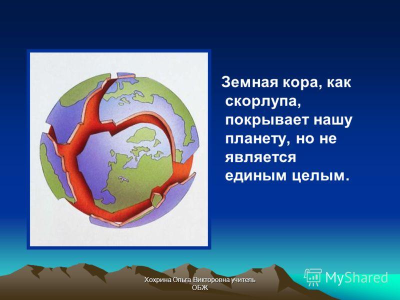 Хохрина Ольга Викторовна учитель ОБЖ Земная кора Верхний твердый слой Земли, состоящий из горных пород и минералов, называют земной корой.