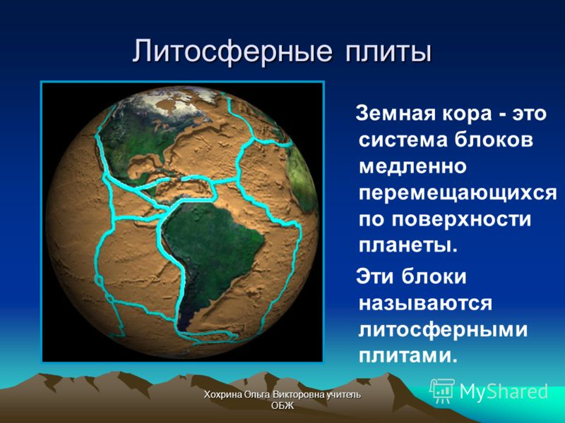 Хохрина Ольга Викторовна учитель ОБЖ Земная кора, как скорлупа, покрывает нашу планету, но не является единым целым.