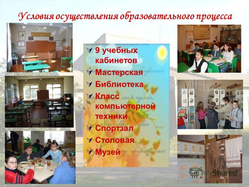 Условия осуществления образовательного процесса 9 учебных кабинетов Мастерская Библиотека Класс компьютерной техники Спортзал Столовая Музей