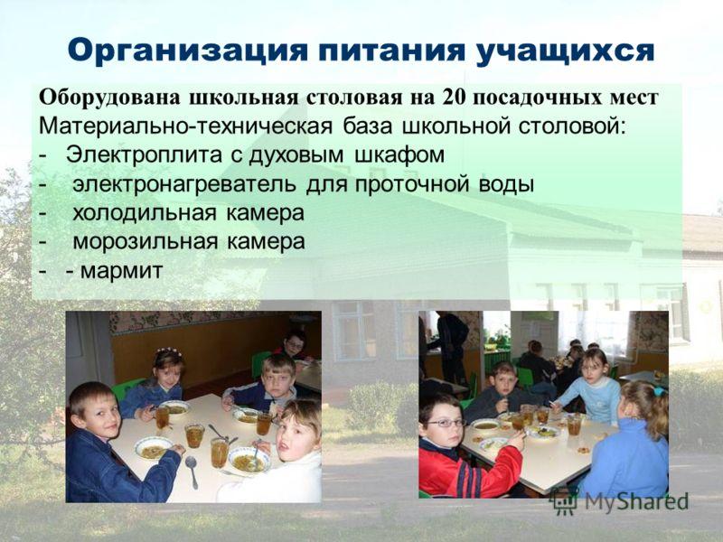 Организация питания учащихся Оборудована школьная столовая на 20 посадочных мест Материально-техническая база школьной столовой: -Электроплита с духовым шкафом - электронагреватель для проточной воды - холодильная камера - морозильная камера -- марми
