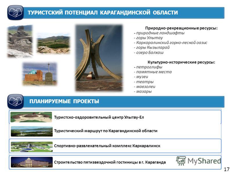 Природно-рекреационные ресурсы: - - природные ландшафты - горы Улытау - Каркаралинский горно-лесной оазис - горы Кызыларай - озеро Балхаш Культурно-исторические ресурсы: - - петроглифы - памятные места - музеи - театры - мавзолеи - мазары 17 Туристск
