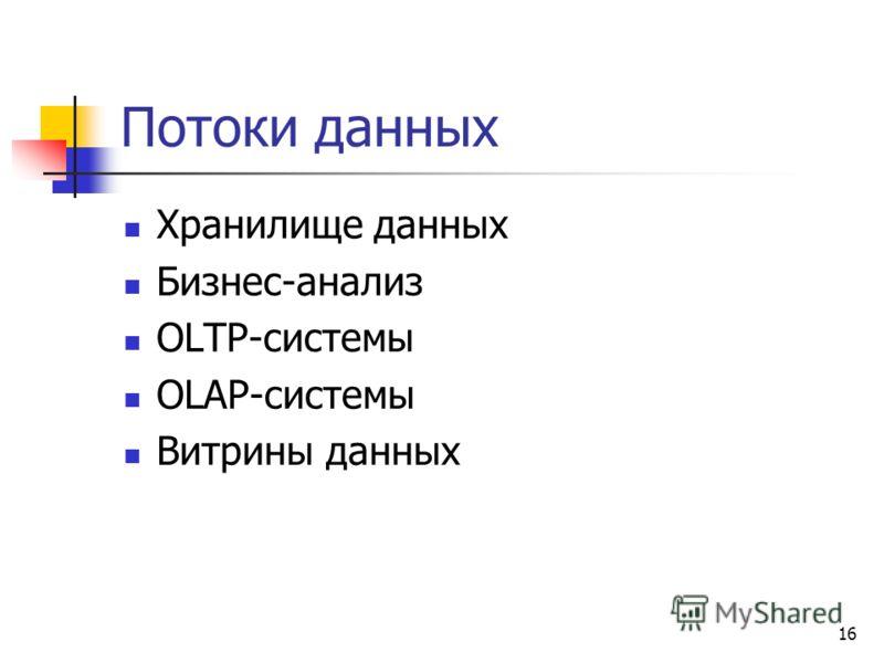 16 Потоки данных Хранилище данных Бизнес-анализ OLTP-системы OLAP-системы Витрины данных