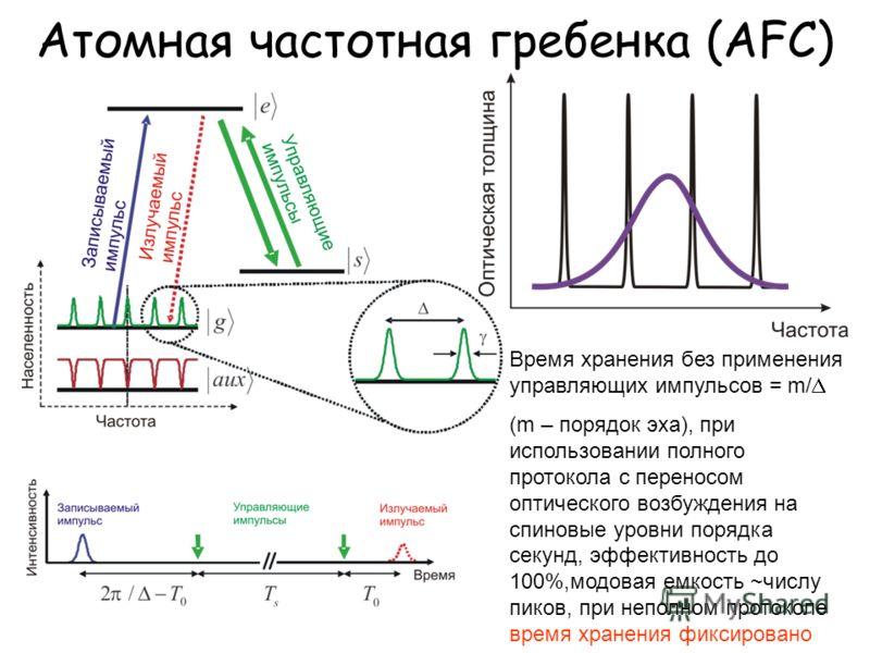 Атомная частотная гребенка (AFC) Время хранения без применения управляющих импульсов = m/ (m – порядок эха), при использовании полного протокола с переносом оптического возбуждения на спиновые уровни порядка секунд, эффективность до 100%,модовая емко