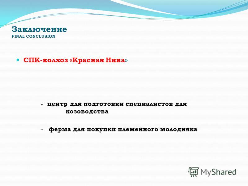 Заключение FINAL CONCLUSION СПК-колхоз «Красная Нива» - центр для подготовки специалистов для козоводства - ферма для покупки племенного молодняка