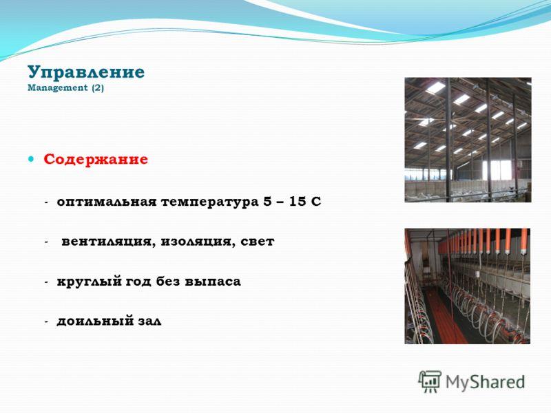 Управление Management (2) Содержание - оптимальная температура 5 – 15 С - вентиляция, изоляция, свет - круглый год без выпаса - доильный зал