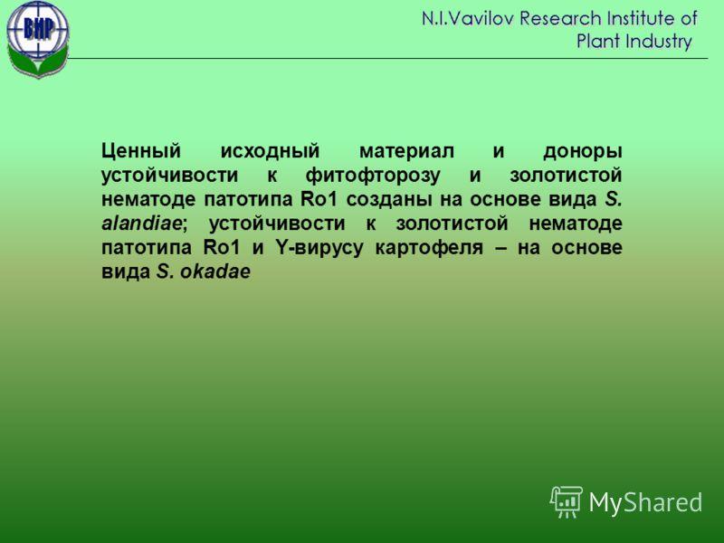 Ценный исходный материал и доноры устойчивости к фитофторозу и золотистой нематоде патотипа Ro1 созданы на основе вида S. alandiae; устойчивости к золотистой нематоде патотипа Ro1 и Y-вирусу картофеля – на основе вида S. okadae