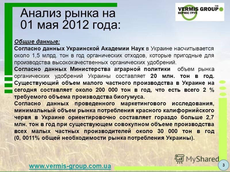www.vermis-group.com.ua Общие данные: Согласно данных Украинской Академии Наук в Украине насчитывается около 1,5 млрд. тон в год органических отходов, которые пригодные для производства высококачественных органических удобрений. Согласно данных Минис