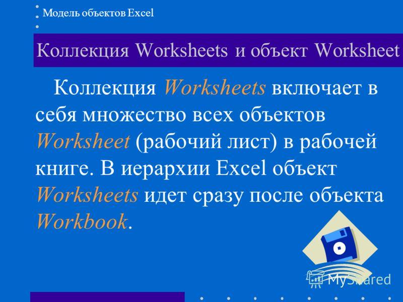 Коллекция Worksheets и объект Worksheet Модель объектов Excel Коллекция Worksheets включает в себя множество всех объектов Worksheet (рабочий лист) в рабочей книге. В иерархии Excel объект Worksheets идет сразу после объекта Workbook.