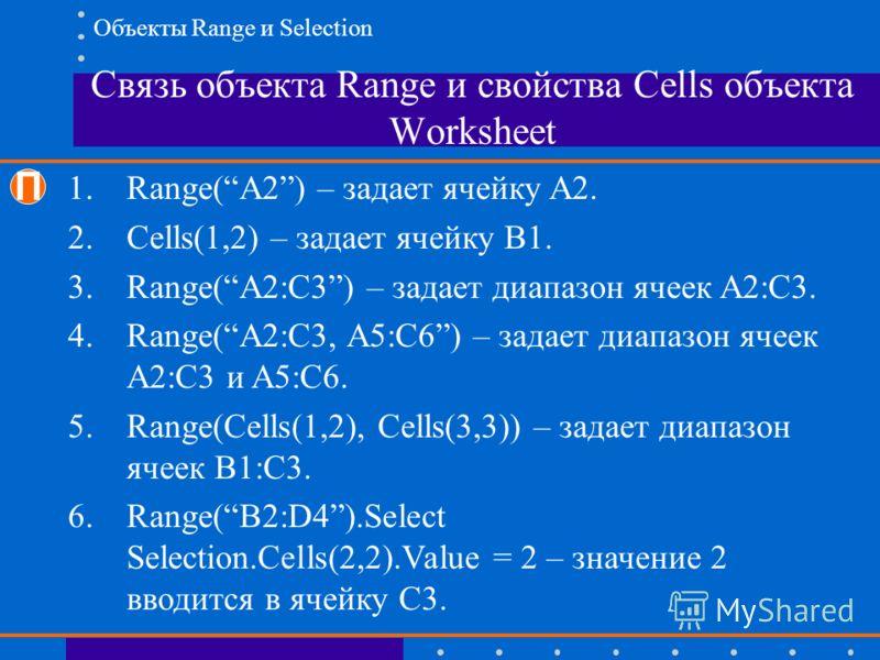 Связь объекта Range и свойства Cells объекта Worksheet П 1.Range(A2) – задает ячейку A2. 2.Cells(1,2) – задает ячейку B1. 3.Range(A2:C3) – задает диапазон ячеек A2:C3. 4.Range(A2:C3, A5:C6) – задает диапазон ячеек A2:C3 и A5:C6. 5.Range(Cells(1,2), C