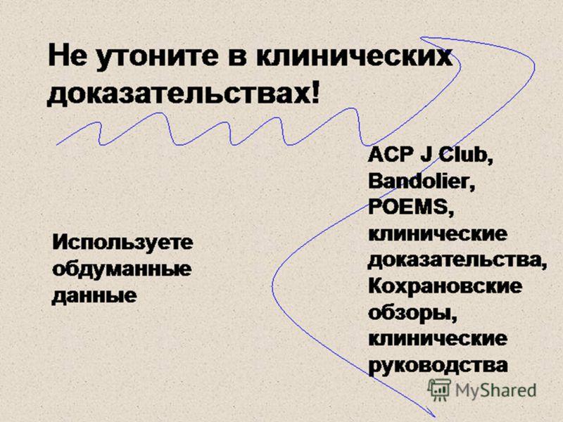 Не утоните в клинических доказательствах! Используете обдуманные данные ACP J Club, Bandolier, POEMS, клинические доказательства, Кохрановские обзоры, клинические руководства