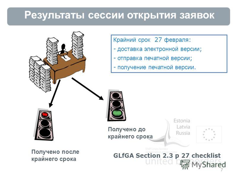 Результаты сессии открытия заявок 7 Получено после крайнего срока Получено до крайнего срока Крайний срок 27 февраля : - доставка электронной версии ; - отправка печатной версии ; - получение печатной версии. GLfGA Section 2.3 p 27 checklist