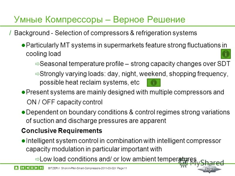 BITZER // Shokin-Pfeil-Smart-Compressors-2011-03-02// Page 11 Умные Компрессоры – Верное Решение /Background - Selection of compressors & refrigeration systems Particularly MT systems in supermarkets feature strong fluctuations in cooling load Season