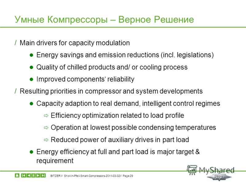 BITZER // Shokin-Pfeil-Smart-Compressors-2011-03-02// Page 29 Умные Компрессоры – Верное Решение /Main drivers for capacity modulation Energy savings and emission reductions (incl. legislations) Quality of chilled products and/ or cooling process Imp