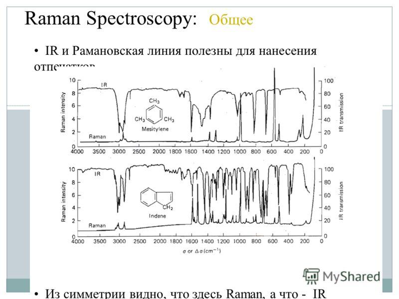 Raman Spectroscopy: Общее IR и Рамановская линия полезны для нанесения отпечатков Из симметрии видно, что здесь Raman, а что - IR