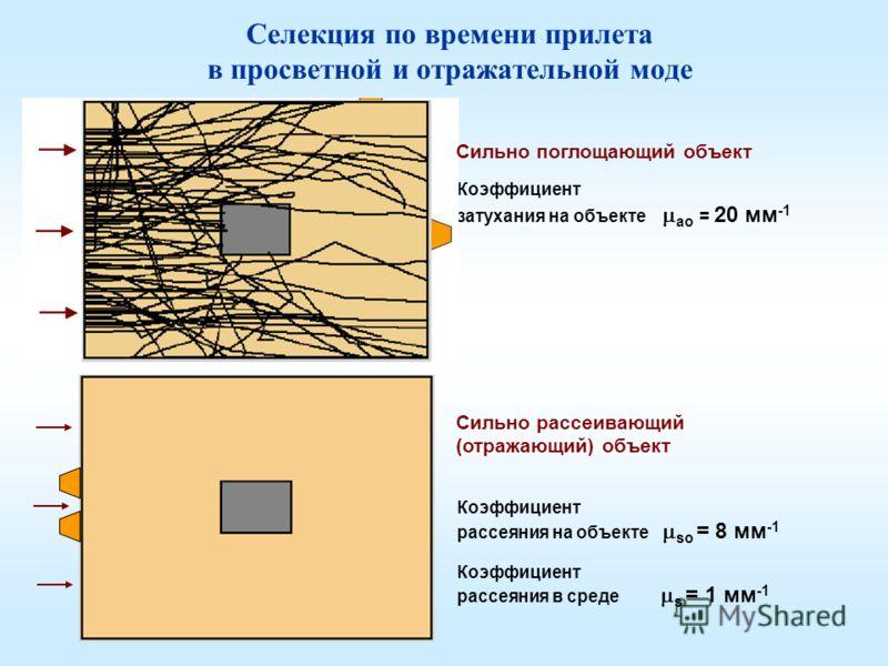 Селекция по времени прилета в просветной и отражательной моде Коэффициент затухания на объекте ао = 20 мм -1 Сильно поглощающий объект Сильно рассеивающий (отражающий) объект Коэффициент рассеяния на объекте sо = 8 мм -1 Коэффициент рассеяния в среде