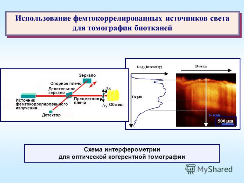 Использование фемтокоррелированных источников света для томографии биотканей 500 m 1 Делительное зеркало Опорное плечо Зеркало Предметное плечо Детектор Источник фемтокоррелированного излучения Объект Схема интерферометрии для оптической когерентной