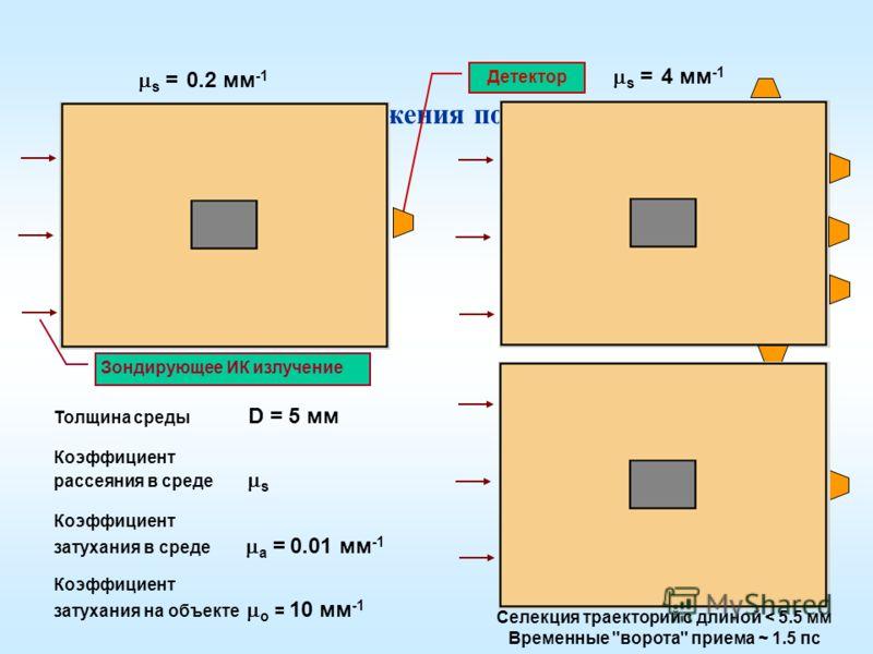 Формирование изображения поглощающего объекта Толщина среды D = 5 мм Коэффициент рассеяния в среде s Коэффициент затухания в среде a = 0.01 мм -1 Коэффициент затухания на объекте о = 10 мм -1 s = 0.2 мм -1 s = 4 мм -1 Селекция траекторий с длиной < 5