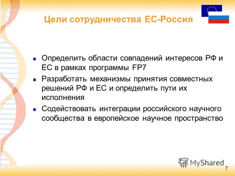7 Определить области совпадений интересов РФ и ЕС в рамках программы FP7 Разработать механизмы принятия совместных решений РФ и ЕС и определить пути их исполнения Содействовать интеграции российского научного сообщества в европейское научное простран