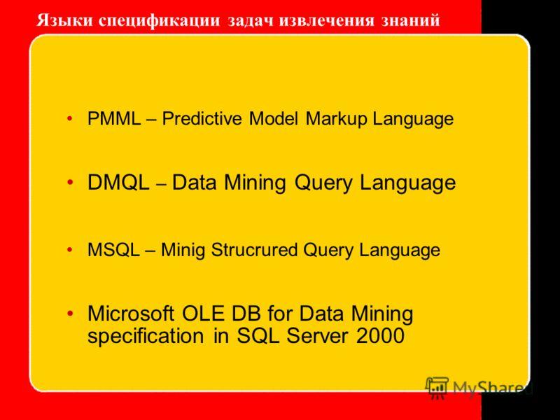 Языки спецификации задач извлечения знаний PMML – Predictive Model Markup Language DMQL – Data Mining Query Language MSQL – Minig Strucrured Query Language Microsoft OLE DB for Data Mining specification in SQL Server 2000