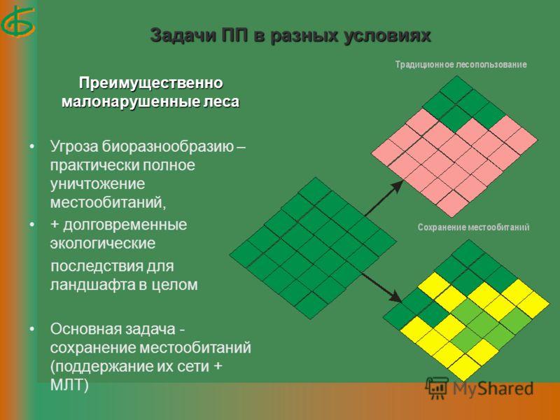 Задачи ПП в разных условиях Преимущественно малонарушенные леса Угроза биоразнообразию – практически полное уничтожение местообитаний, + долговременные экологические последствия для ландшафта в целом Основная задача - сохранение местообитаний (поддер