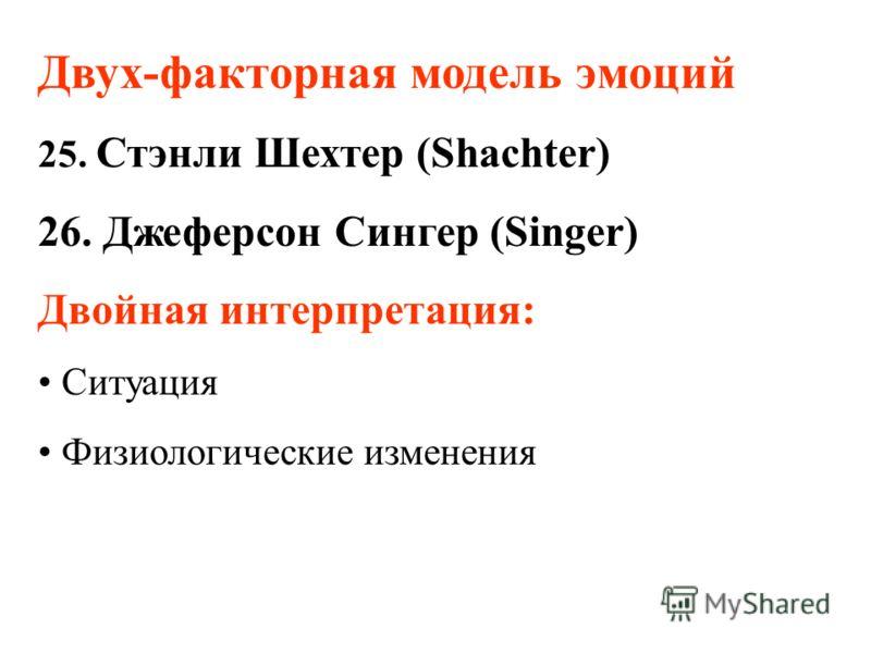 Двух-факторная модель эмоций 25. Стэнли Шехтер (Shachter) 26. Джеферсон Сингер (Singer) Двойная интерпретация: Ситуация Физиологические изменения
