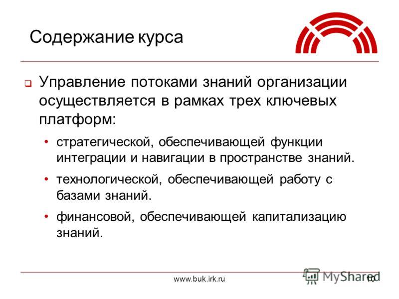 www.buk.irk.ru10 Содержание курса Управление потоками знаний организации осуществляется в рамках трех ключевых платформ: стратегической, обеспечивающей функции интеграции и навигации в пространстве знаний. технологической, обеспечивающей работу с баз