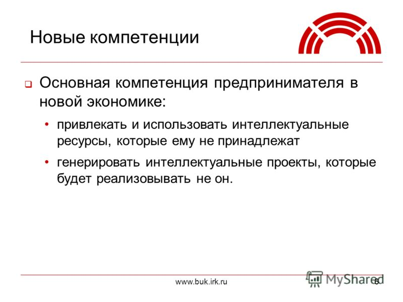 www.buk.irk.ru66 Новые компетенции Основная компетенция предпринимателя в новой экономике: привлекать и использовать интеллектуальные ресурсы, которые ему не принадлежат генерировать интеллектуальные проекты, которые будет реализовывать не он.