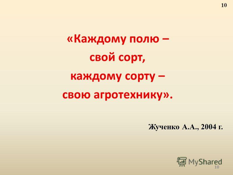 «Каждому полю – свой сорт, каждому сорту – свою агротехнику». Жученко А.А., 2004 г. 10