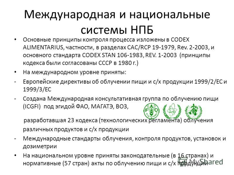Международная и национальные системы НПБ Основные принципы контроля процесса изложены в CODEX ALIMENTARIUS, частности, в разделах CAC/RCP 19-1979, Rev. 2-2003, и основного стандарта CODEX STAN 106-1983, REV. 1-2003 (принципы кодекса были согласованы