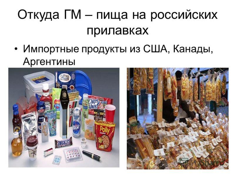 Откуда ГМ – пища на российских прилавках Импортные продукты из США, Канады, Аргентины
