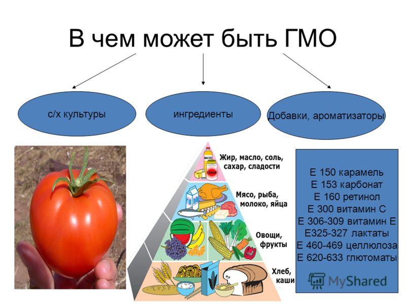 В чем может быть ГМО с/х культурыингредиенты Добавки, ароматизаторы Е 150 карамель Е 153 карбонат Е 160 ретинол Е 300 витамин С Е 306-309 витамин Е Е325-327 лактаты Е 460-469 целлюлоза Е 620-633 глютоматы