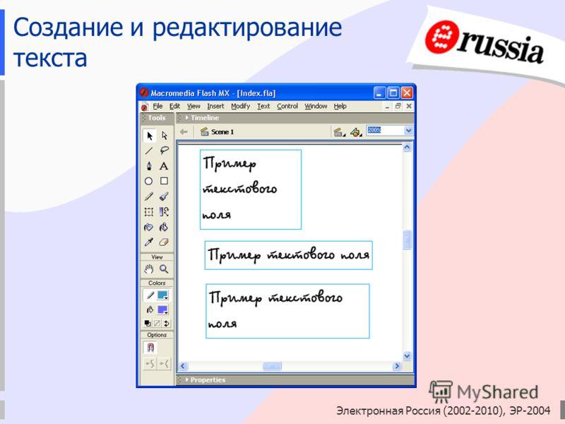 Электронная Россия (2002-2010), ЭР-2004 Создание и редактирование текста