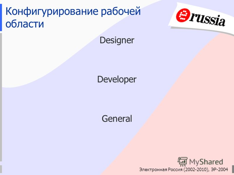 Электронная Россия (2002-2010), ЭР-2004 Конфигурирование рабочей области Designer Developer General