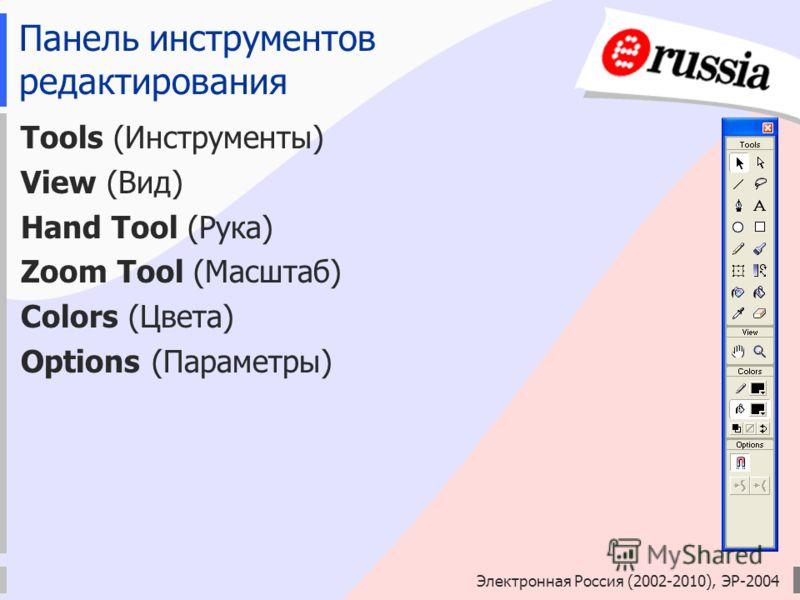 Панель инструментов редактирования Tools (Инструменты) View (Вид) Hand Tool (Рука) Zoom Tool (Масштаб) Colors (Цвета) Options (Параметры)
