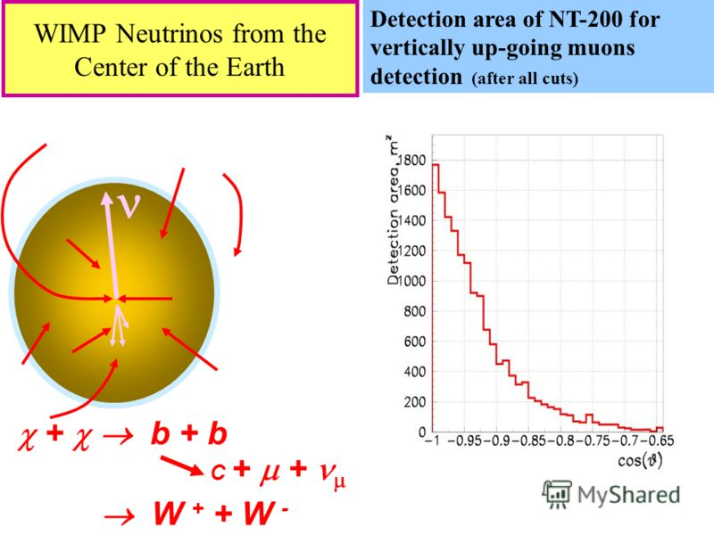 14 WIMP Neutrinos from the Center of the Earth + b + b W + + W - C + + Detection area of NT-200 for vertically up-going muons detection (after all cuts)