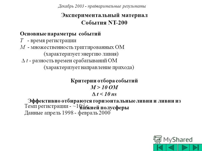 Экспериментальный материал Cобытия NT-200 Декабрь 2003 - предварительные результаты Основные параметры событий Т - время регистрации М - множественность триггированных ОМ (характеризует энергию ливня) t - разность времен срабатываний ОМ (характеризуе