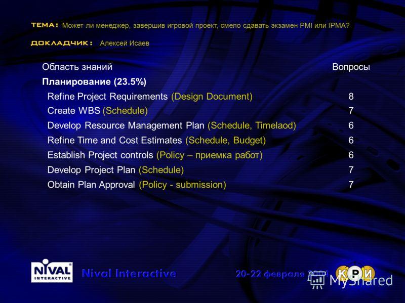 Может ли менеджер, завершив игровой проект, смело сдавать экзамен PMI или IPMA? Алексей Исаев Область знанийВопросы Планирование (23.5%) Refine Project Requirements (Design Document)8 Create WBS (Schedule)7 Develop Resource Management Plan (Schedule,