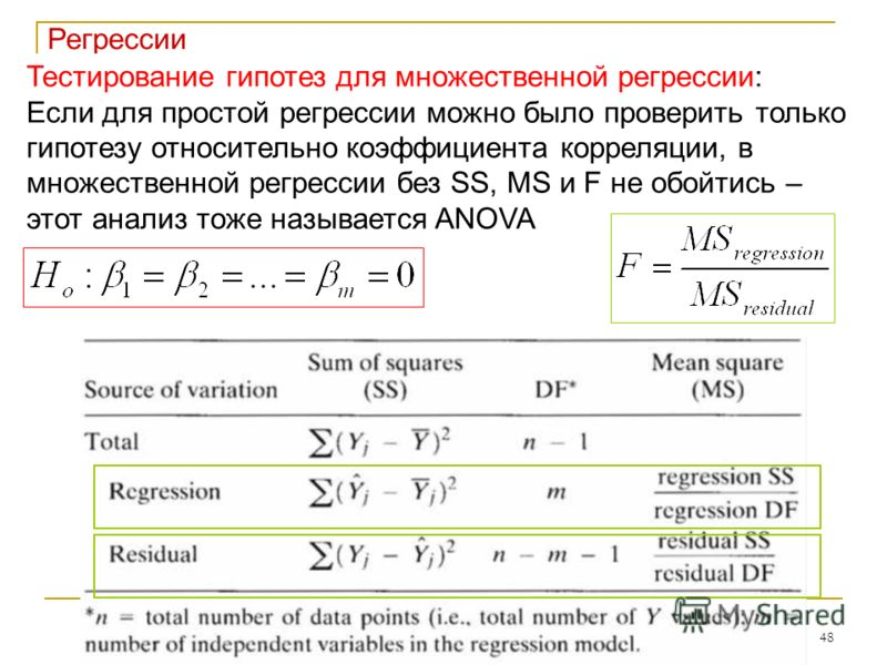 48 Регрессии Тестирование гипотез для множественной регрессии: Если для простой регрессии можно было проверить только гипотезу относительно коэффициента корреляции, в множественной регрессии без SS, MS и F не обойтись – этот анализ тоже называется AN
