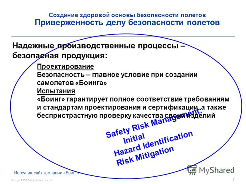 Copyright © 2012 Boeing. All rights reserved. 7 Создание здоровой основы безопасности полетов Приверженность делу безопасности полетов Надежные производственные процессы – безопасная продукция: Проектирование Безопасность – главное условие при создан